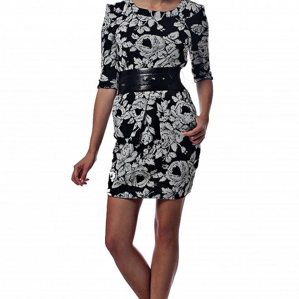 Dámské černobílé pletené šaty Miss Sixty s květinovým vzorem a páskem