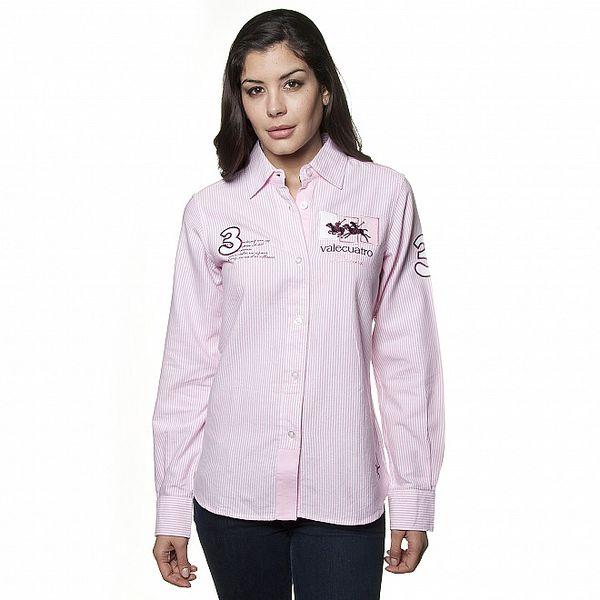 Dámská světle růžová proužkovaná košile Valecuatro s výšivkou