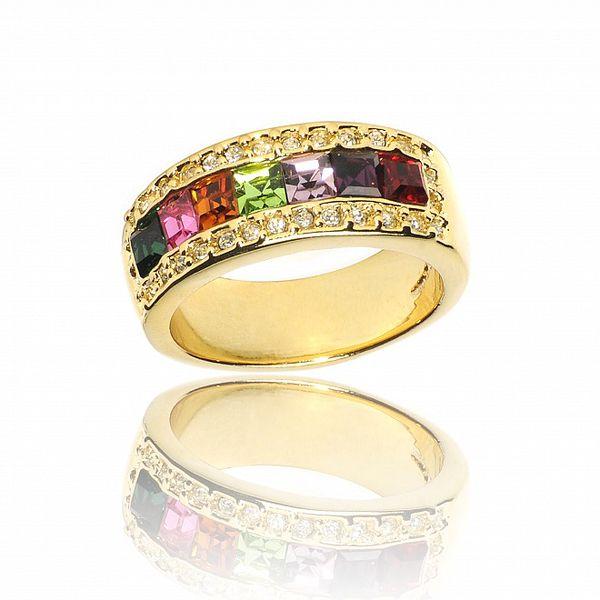 Dámský zlatý prsten Bague a Dames s barevnými krystaly