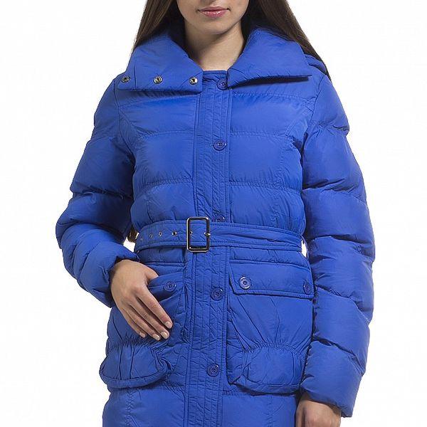 Dámská zářivě modrá prošívaná péřová bunda Bleifrei