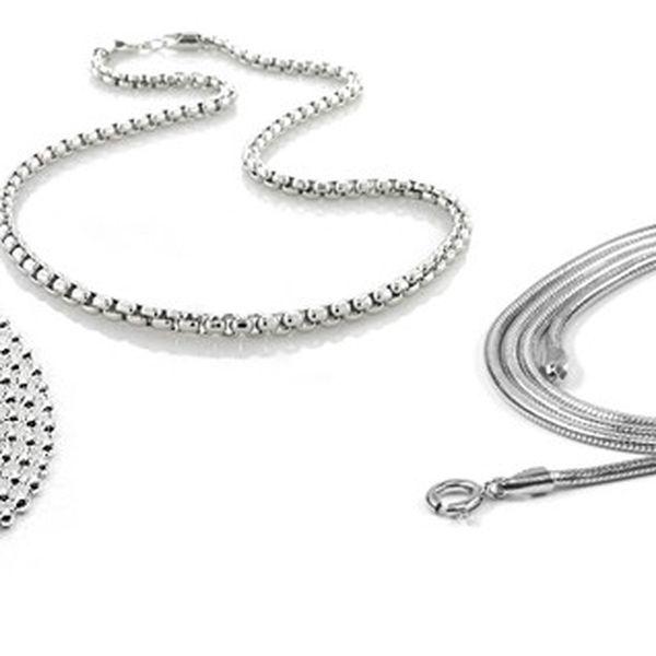 Stříbrné řetízky různých tvarů vyrobené ze stříbra 925/1000, dokladem ryzosti nyní s jedinečnou 50 % slevou!