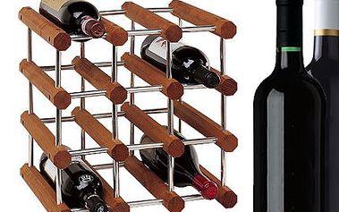 Stojan na víno pro 12 lahví! Stylová konstrukce z masivního bukového dřeva a hliníku!