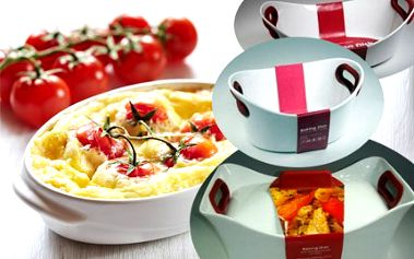 Zapékací porcelánové misky! Silikonové úchytky, udrží jídlo dlouho teplé. Staňte se lepším kuchařem!