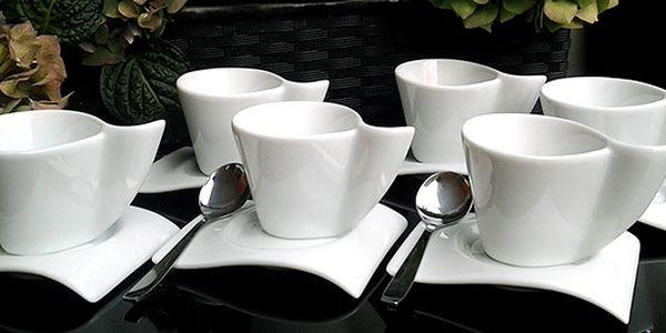 Sada 6 designových šálků na kávu včetně podšálků