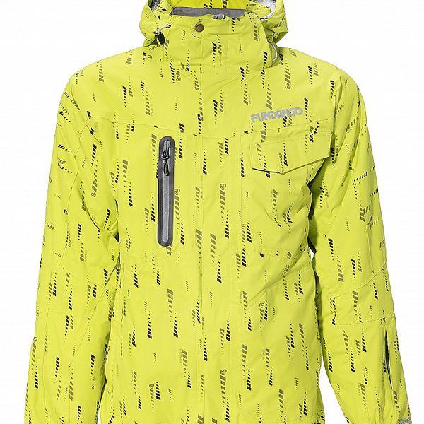 Pánská zářivě žlutá bunda Fundango s potiskem a membránou