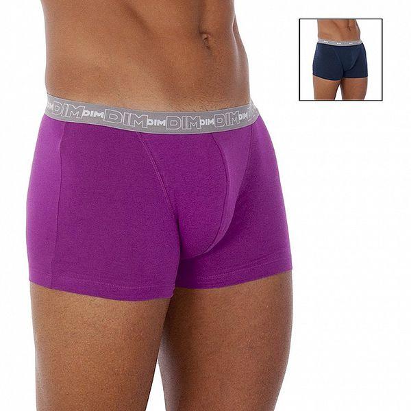 Dvoje pánské boxerky DIM tmavě modré a purpurové
