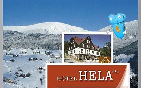 Sleva 50 % na pobyt v Hotelu Hela, Velká Úpa, pro 2 osoby na 3 dny se snídaní. Osobní přístup, skvělé parkování, vlek u hotelu, výborné podmínky pro lyžování - co víc si přát... Krkonoše - ráj zimních radovánek.