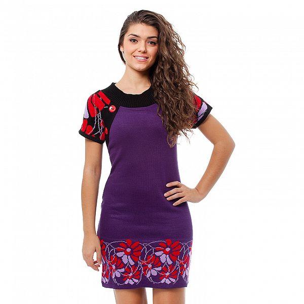 Dámské fialové šaty Avispada s květinovým vzorem