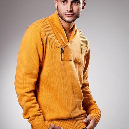 Pánský oranžový svetr Celop s límcem