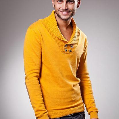 Pánský žlutý svetr Celop s límcem
