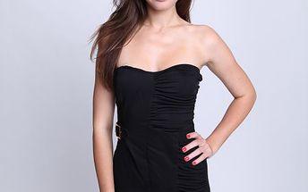 Elegantní dámské šaty Relish Abito Smita bez ramínek v jednobarevném provedení, černé