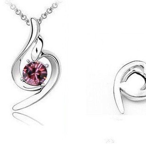 Luxusní přívěšek ve tvaru kapičky s růžovým kamínkem z chirurgické oceli včetně řetízku o délce 45 cm!
