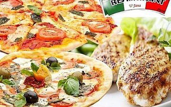 99 kč za dvě pizzy nebo kombinaci 1x pizza a 1x kuřecí prsa na grilu
