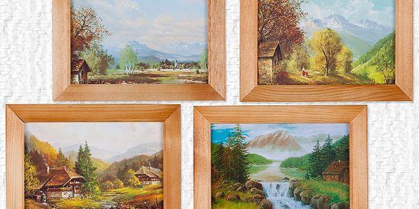 Sada 4 obrazů krajinek se dřevěným rámečkem a háčkem na zavěšení.