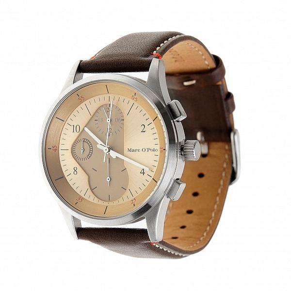 Pánské hodinky Marc O´Polo s tmavě hnědým koženým páskem