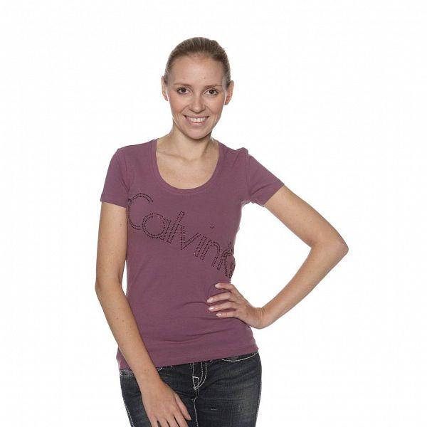 Dámské fialové tričko Calvin Klein s kamínky