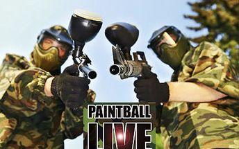 Paintball na 3 hodiny! V ceně je kompletní vybavení a 100 kuliček. Válčit budete na 2500 m2!