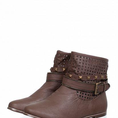 Dámské čokoládové kotníčkové boty Ada Gatti