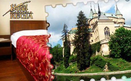 3 nezabudnuteľné dni len 500 metrov od Bojnického zámku v hoteli REGIA*** pre dve osoby s polpenziou a bezplatným vstupom do fitness zvýhodneným hotelovým wellnessom len za 70 €! Užite si toto krásne kúpelné mestečko so super zľavou 58%!
