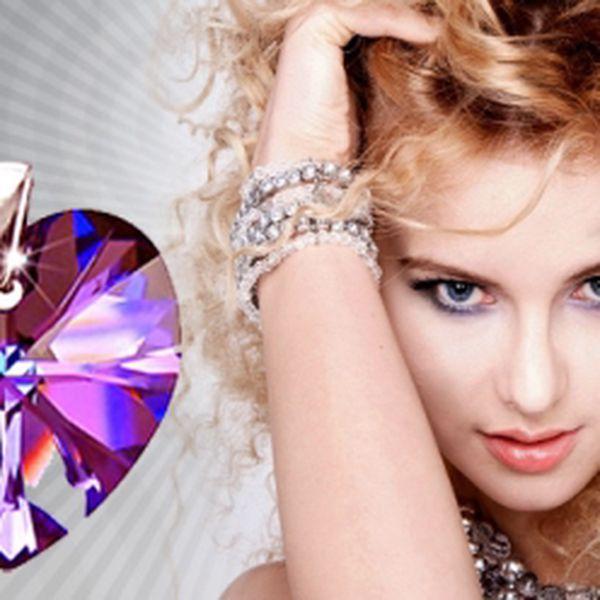 Stříbrný přívěsek - obrovské srdce se Swarovski elements za neodolatelnou cenu 299 Kč! Na výběr 5 barev! Poštovné ZDARMA + navíc 20% sleva do e-shopu jako dárek!