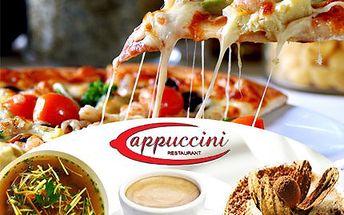 4chodové Italské menu! Silný vývar, pizza, tiramisu a expresso!