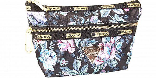 Černá kosmetická taštička s motivem růží.