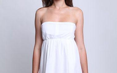 Pohodlné dámské šaty Relish Abito Demi/Bis volného střihu bez ramínek , bílé