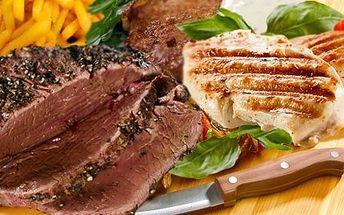 Obrovské steakové hody! Hostina o váze 850 gramů. Maso vepřové, hovězí, kuřecí a obloha!