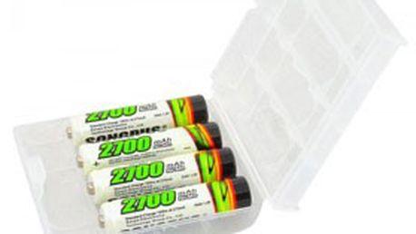 4 ks mikrotužkových DOBÍJECÍCH BATERIÍ AAA s kapacitou 2700mAh v plastové krabičce – životnost až 1000 cyklů!