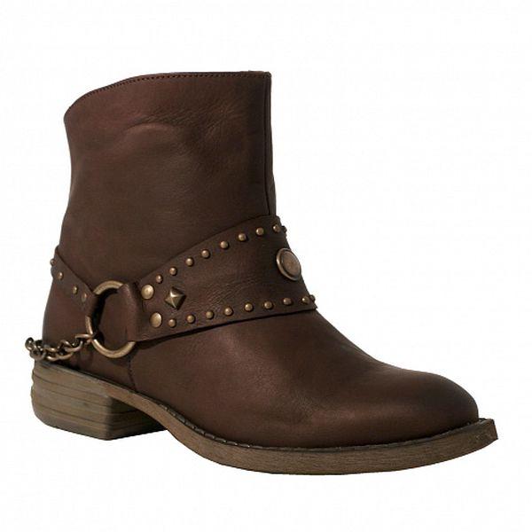 Dámské hnědé kotníčkové boty Red Hot s kovovými detaily