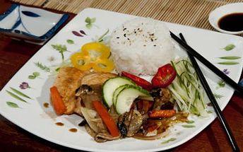 Lososové teryiaki, mňam! Příloha: rýže se zeleninou. Japonská kuchyně ještě neodhalila vše!