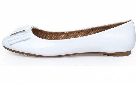 Dámské bílé lakované baleríny Sofia Loes s mašlí