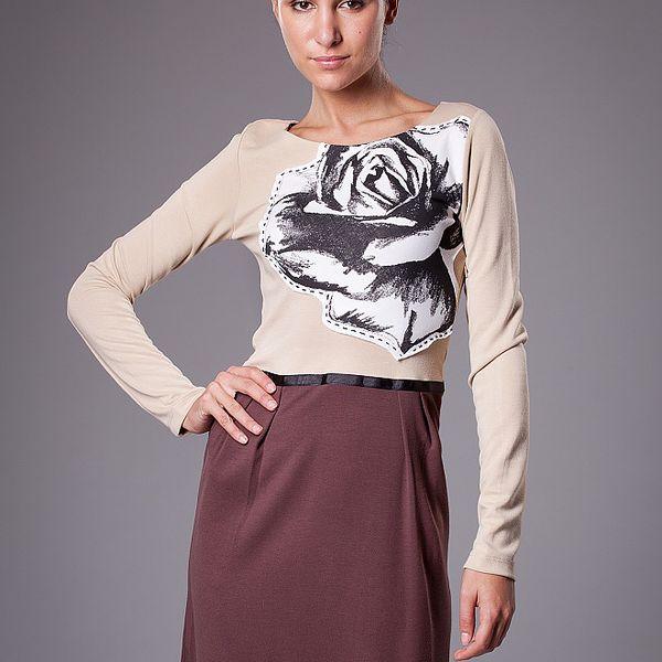 Dámské hnědo-béžové šaty ByLu s růží