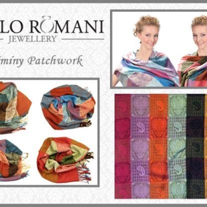 Pašmína Patchwork - elegantní šála, stylový doplněk vhodný pro všechny ženy! Nepřeberné množství barev, vybere si určitě každý. Velmi vhodný dárek, který potěší každou ženu bez rozdílu věku. Sleva 50%!