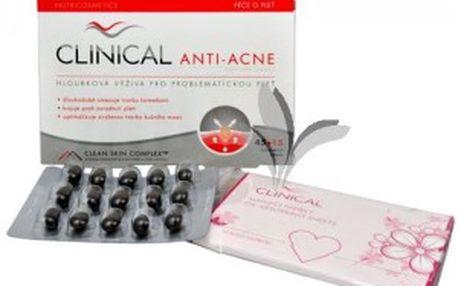 Clinical Clinical Anti-acne 45 tob. omáhá zklidňovat podrážděnou a problematickou pleť + 15 tob. ZDARMA + matující ubrousky ZDARMA AKCE