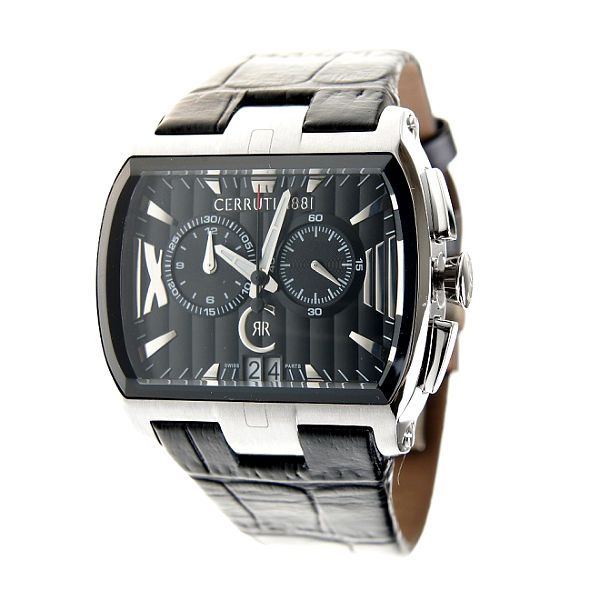 Ocelové hodinky Cerruti 1881 s černým koženým páskem
