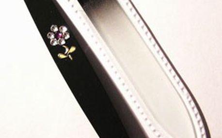 Dárková sada: skleněný pilník s pinzetou, nebo škrabkou na paty s kamínky Swarovski, výběr ze 4 barev! Precizní ruční práce & česká výroba