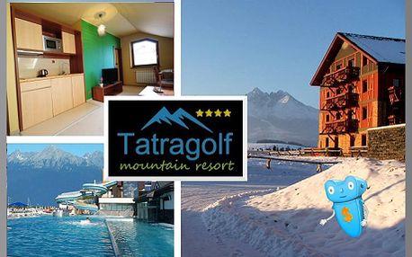 Vysoké Tatry, luxusní ubytování pro 2 osoby na 3 dny ve 2pokojovém apartmánu v Tatragolf Mountain Resorts**** Slovensko! Komfortní ubytování v nově vybudovaných apartmánových domech ve Velké Lomnici. Areál je v blízkosti golfového hřiště. Sleva na pobyt 60%!