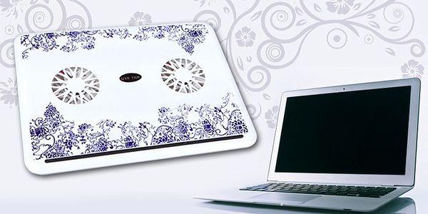 Chladící podložka pod notebook s 2 větráčky a s ozdobnými motivy.