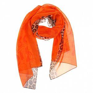 Dámský oranžový hedvábný šál Roberto Cavalli s leopardím motivem