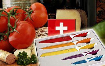 Sada 5 farebných nožov + škrabka s antiadhéznym povrchom - Royalty Line Switzerland! Prvotriedna oceľ, dodávané v ochrannom balení, vysoko šetrné ku krájaným pokrmom!