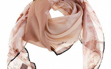 Dámský béžový hedvábný šátek Roberto Cavalli s tropickými květy