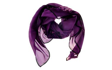 Dámský purpurový hedvábný šátek Roberto Cavalli s potiskem