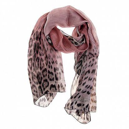 Dámský starorůžový hedvábný leopardí šál Roberto Cavalli