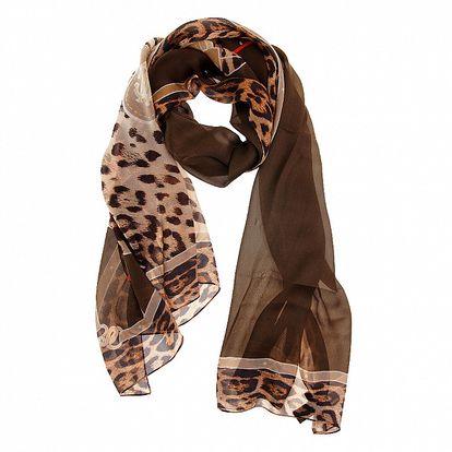 Dámský tmavě hnědý hedvábný šál Roberto Cavalli s leopardím potiskem
