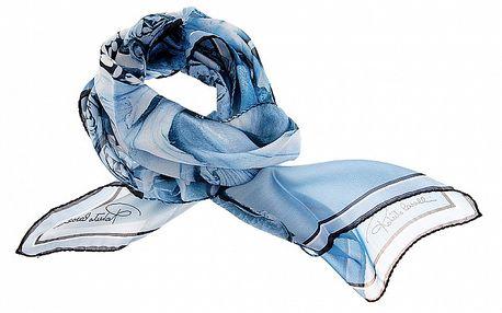 Dámský modrý hedvábný šátek Roberto Cavalli s tropickými květy