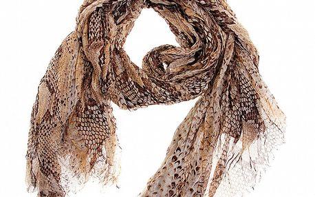 Dámský béžový šátek Roberto Cavalli s hadím potiskem