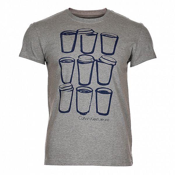 Pánské světle šedé melírované triko Calvin Klein s potiskem