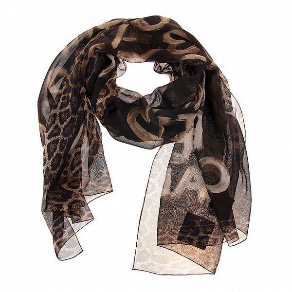 Dámský hnědý hedvábný šál Roberto Cavalli s potiskem