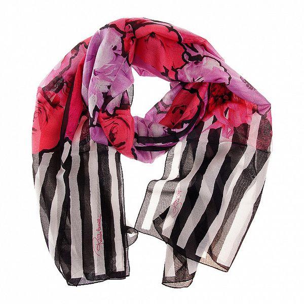 Dámský růžovo-fialový hedvábný šál Roberto Cavalli s potiskem
